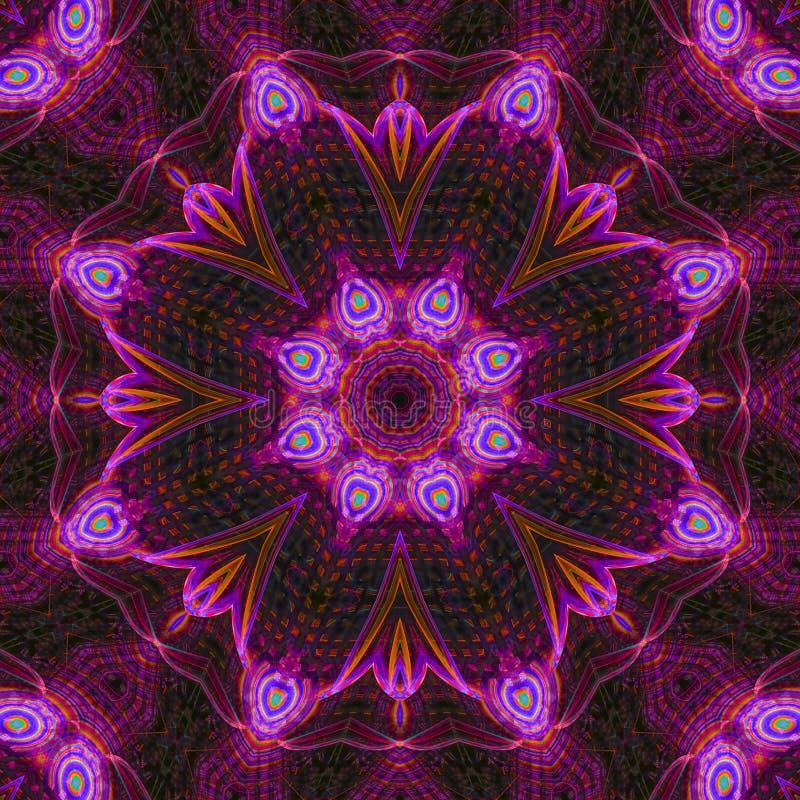 Extracto digital del ornamento de la textura de la decoración del caleidoscopio del fractal, hermoso diseño de la mandala imágenes de archivo libres de regalías