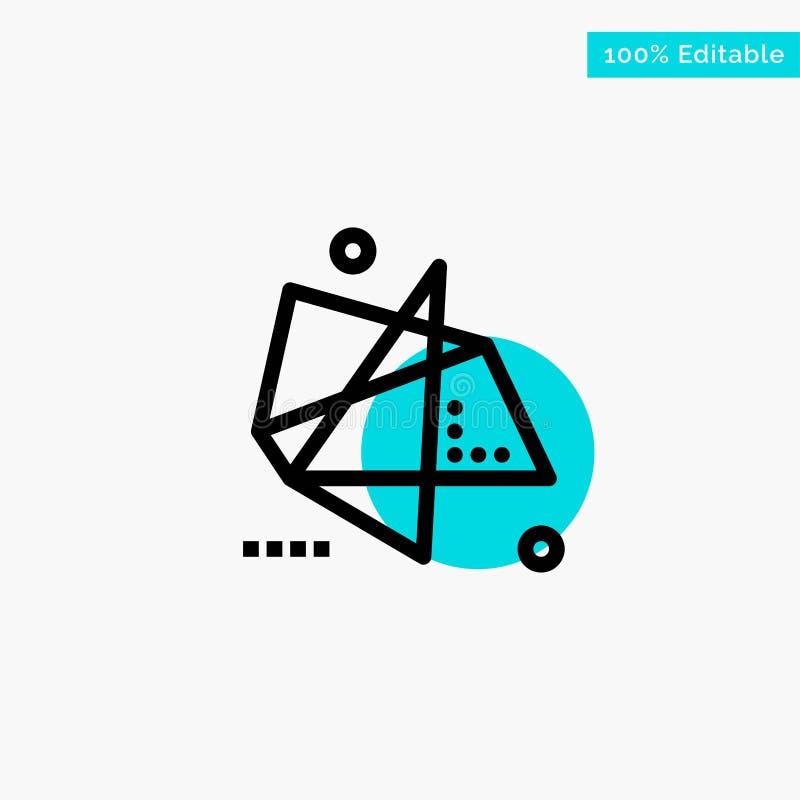 Extracto, efectos, gráficos, movimiento, icono especial del vector del punto del círculo del punto culminante de la turquesa stock de ilustración