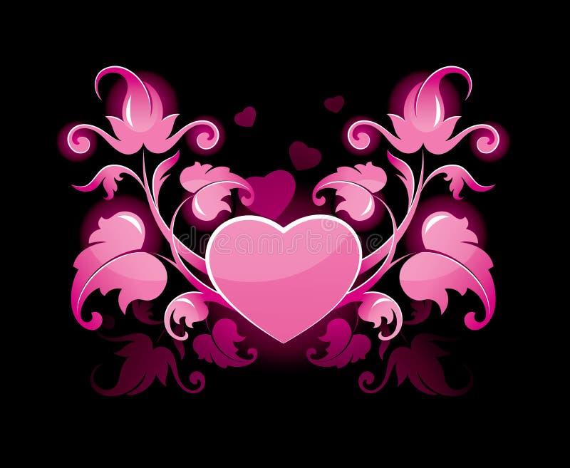 Extracto floral con el corazón stock de ilustración