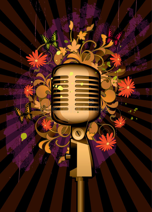 Extracto floral con el micrófono y las mariposas libre illustration