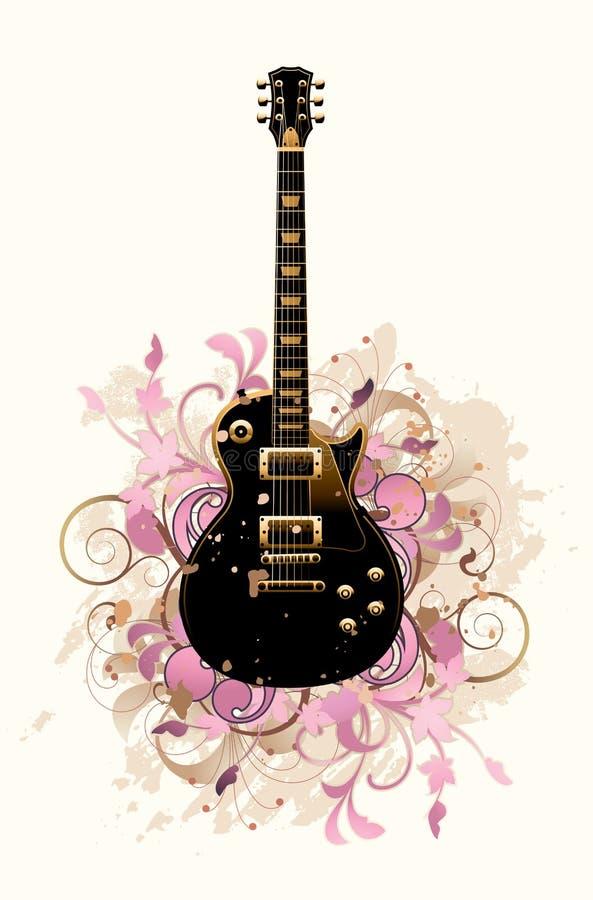 Extracto floral con la guitarra libre illustration