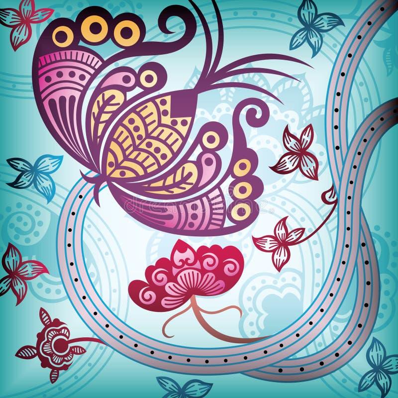 Extracto floral con la mariposa stock de ilustración