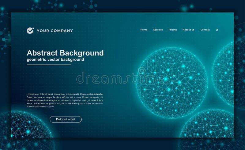 Extracto, fondo dinámico moderno para su diseño de aterrizaje de la página Tecnología, ciencia, fondo futurista para la página we stock de ilustración