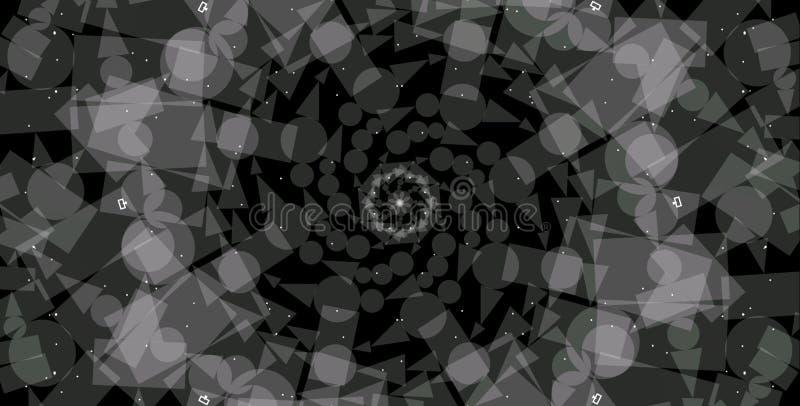 extracto, fondo geométrico del Grayscale del extracto Las formas geométricas diseñan con el fondo negro libre illustration