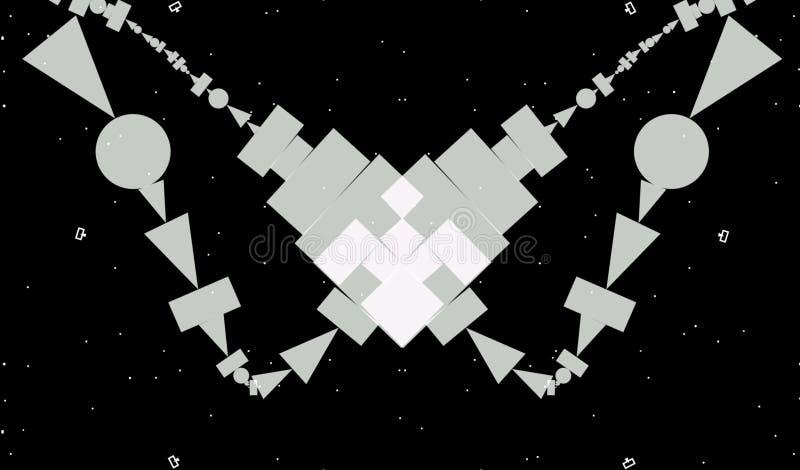 extracto, fondo geométrico del Grayscale del extracto Las formas geométricas diseñan con el fondo negro ilustración del vector