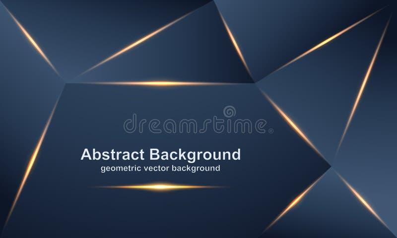 Extracto, fondos lujosos, modernos, poligonales del vector con una mezcla de oro y colores oscuros stock de ilustración