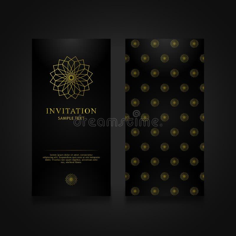 Extracto geométrico del oro de la tarjeta de la invitación ilustración del vector