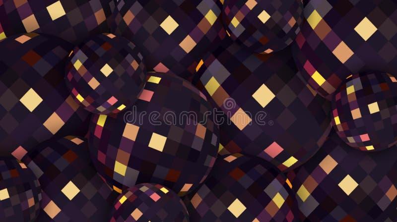 Extracto gráfico de cristal oscuro de las esferas 3d Reflejo de oro en fondo de las gotas negras libre illustration