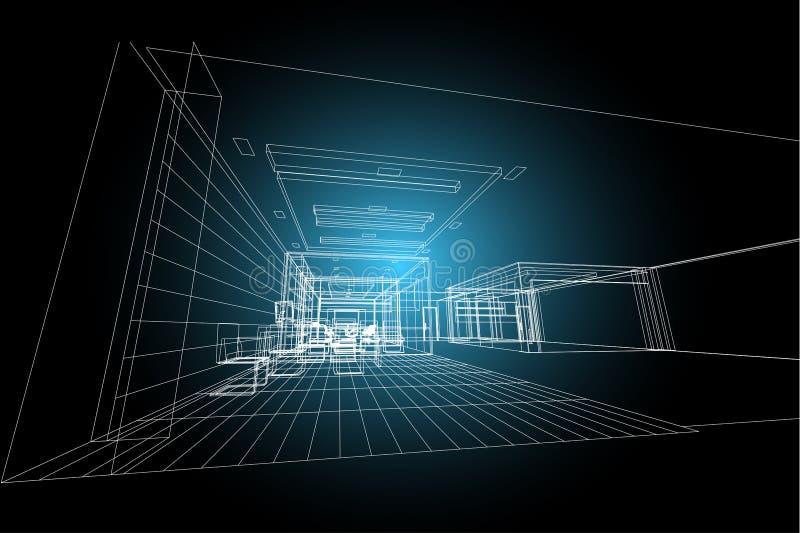 Extracto interior de la arquitectura, 3d ejemplo, diseño comercial del edificio de la estructura de edificio ilustración del vector