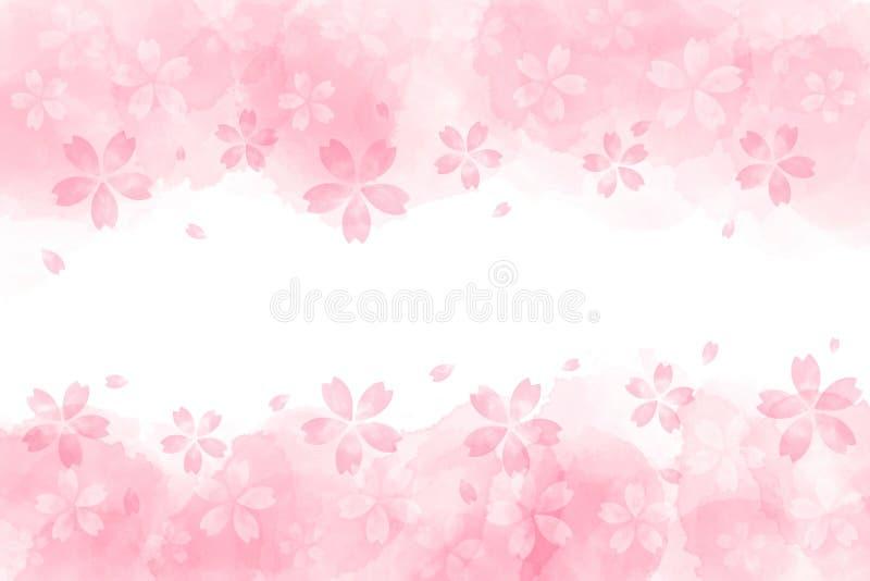 Extracto japonés de la flor de cerezo en fondo rosado de la acuarela stock de ilustración