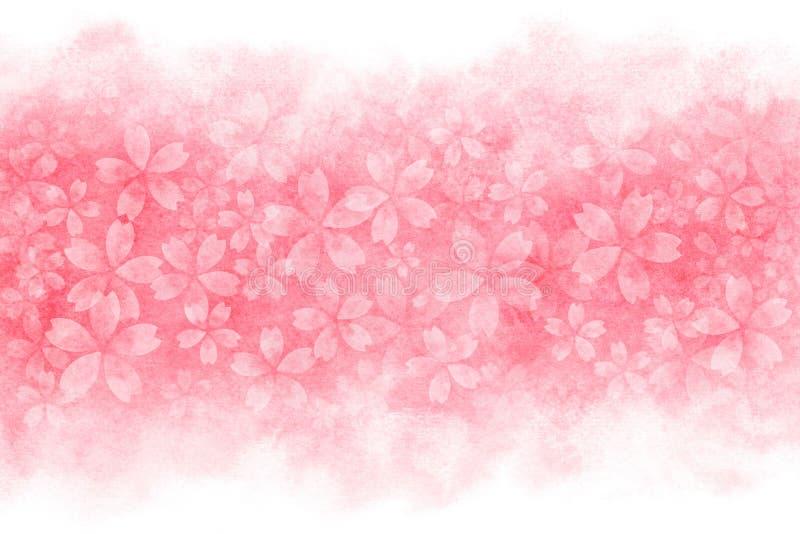 Extracto japonés de la flor de cerezo en fondo rosado de la pintura de la acuarela stock de ilustración