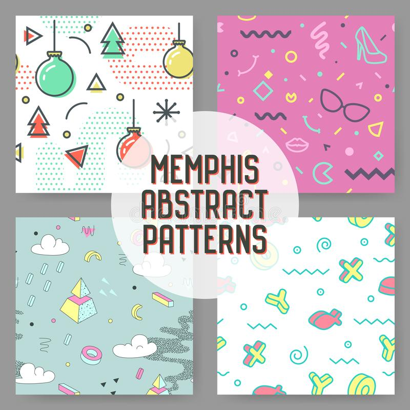 Extracto Memphis Seamless Pattern Set del inconformista de la moda Fondo geométrico de las dimensiones de una variable Composició libre illustration