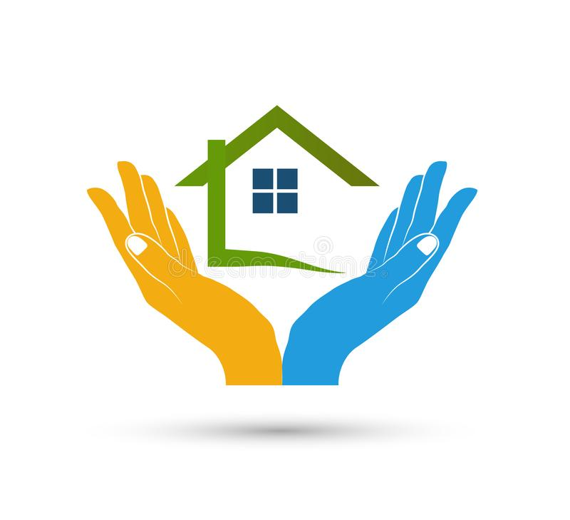 Extracto modelo de la comunidad de la casa en vector del logotipo de las propiedades inmobiliarias de las manos stock de ilustración