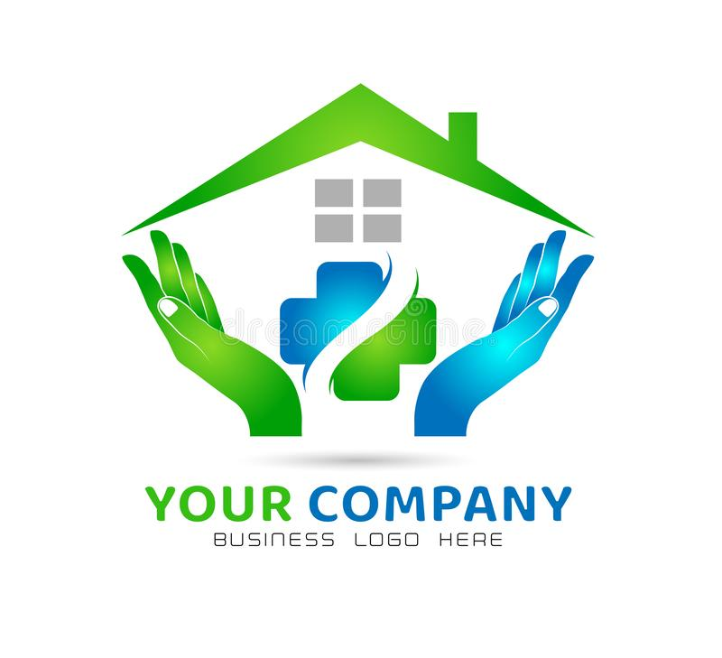 Extracto modelo de la comunidad de la casa, icono de la atención sanitaria en vector del logotipo de las propiedades inmobiliaria ilustración del vector