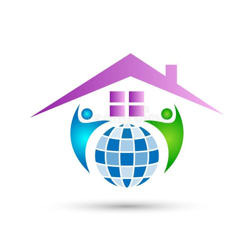 Extracto modelo de la comunidad de la casa, vector del logotipo de las propiedades inmobiliarias de la familia libre illustration
