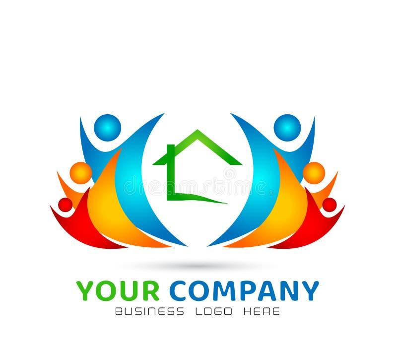 Extracto modelo de la comunidad de la casa, vector del logotipo de las propiedades inmobiliarias de la familia junto stock de ilustración