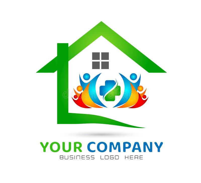 Extracto modelo de la comunidad de la casa, vector del logotipo de las propiedades inmobiliarias de la familia junto ilustración del vector