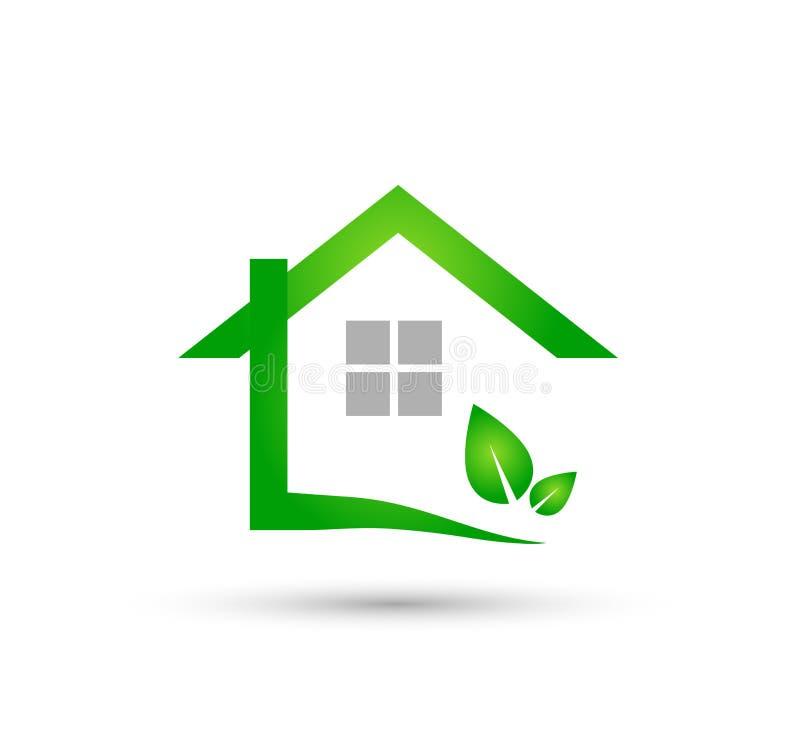 Extracto modelo de la comunidad de la casa verde, vector del logotipo de las propiedades inmobiliarias libre illustration