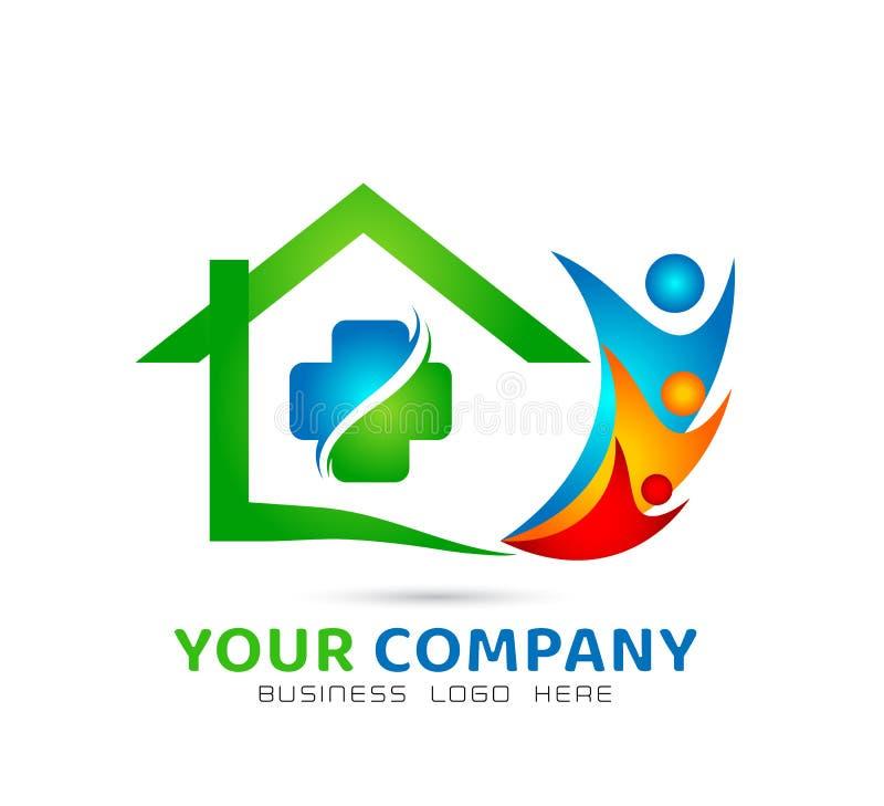 Extracto modelo de la comunidad de la casa verde, vector del logotipo de las propiedades inmobiliarias de la familia de la atenci ilustración del vector