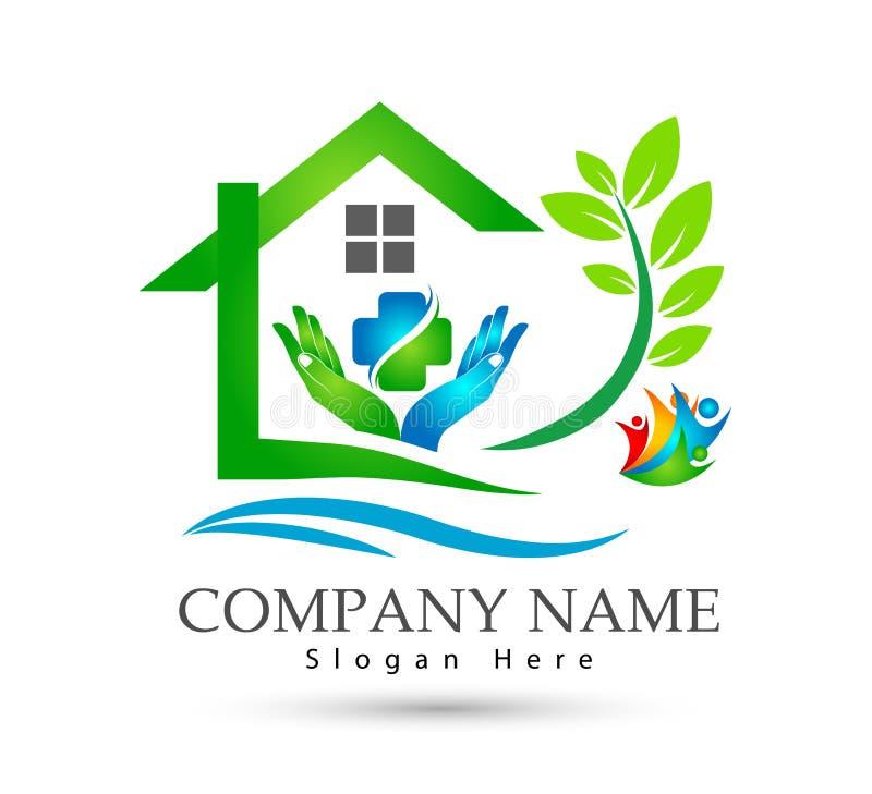 Extracto modelo de la comunidad de la casa verde, vector del logotipo de las propiedades inmobiliarias de la familia de la atenci stock de ilustración