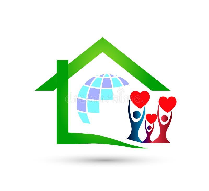 Extracto modelo de la comunidad de la casa verde, vector del logotipo de las propiedades inmobiliarias de la familia ilustración del vector