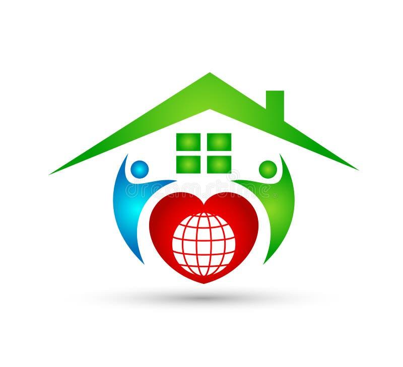 Extracto modelo de la comunidad de la casa verde, vector del logotipo de las propiedades inmobiliarias de la familia stock de ilustración
