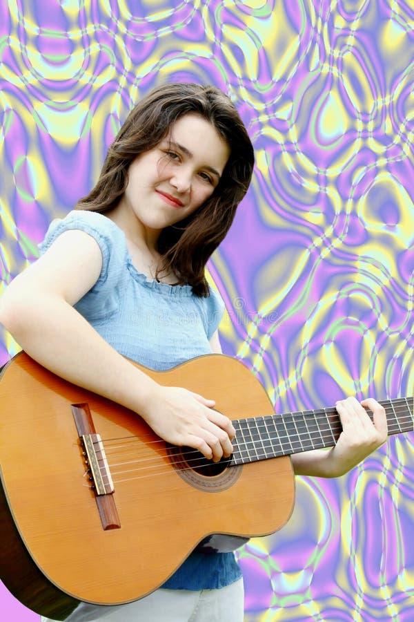 Extracto onMusic de la guitarra fotografía de archivo