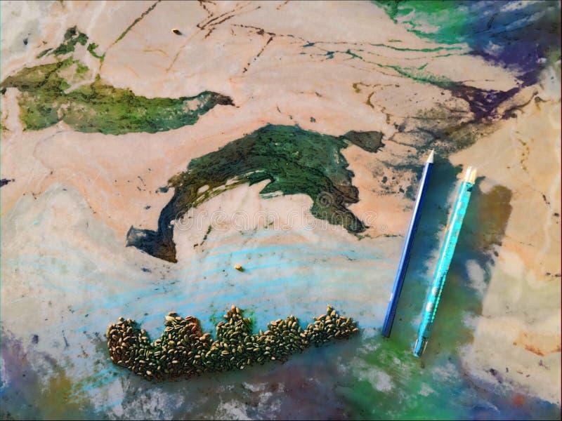 Extracto, pintura, mármol, colores, arte verde azul, niños de los modelos, fotos de archivo libres de regalías
