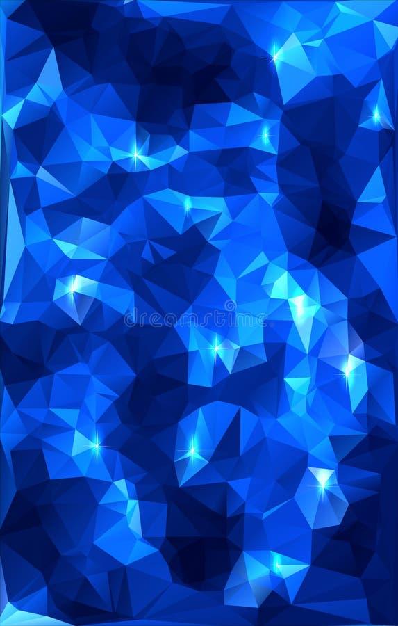 Extracto poligonal azul con las estrellas ilustración del vector