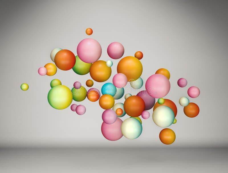 Extracto que flota el fondo colorido de las bolas de la pendiente libre illustration