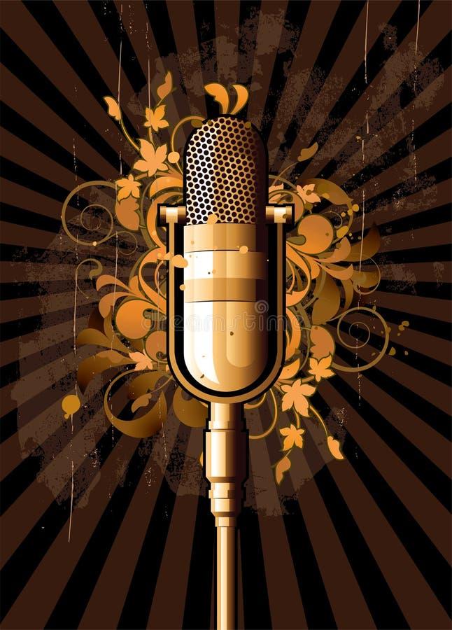 Extracto retro con el micrófono ilustración del vector