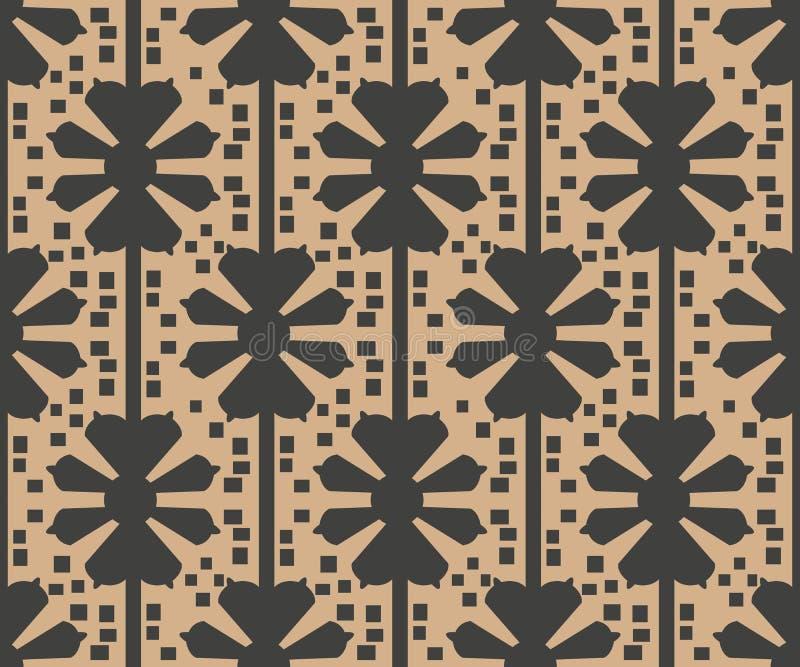 Extracto retro inconsútil de la flor de la cruz de la geometría del polígono del fondo del modelo del damasco del vector Diseño m ilustración del vector