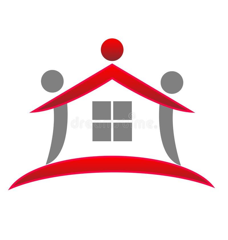 Extracto rojo del modelo de la casa, vector del logotipo de las propiedades inmobiliarias libre illustration