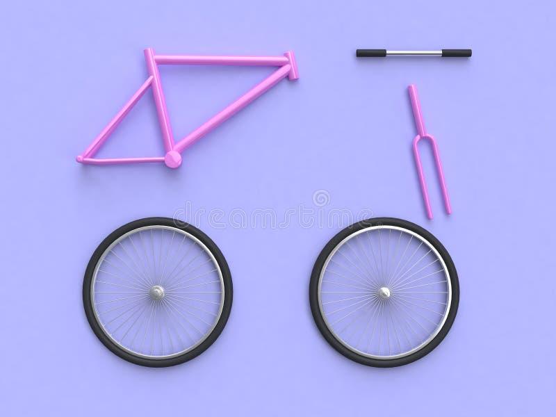 Extracto rosado de la representación de las piezas 3d del grupo de la bicicleta libre illustration