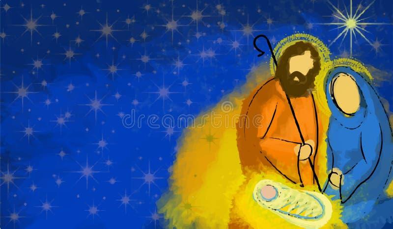 Extracto santo de la natividad de la Navidad de la familia stock de ilustración