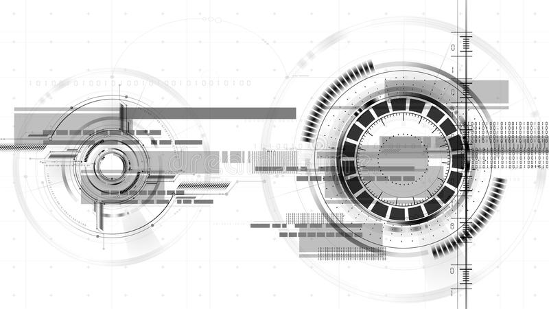 Extracto tecnológico del fondo del vector del interfaz del dibujo del espacio ilustración del vector