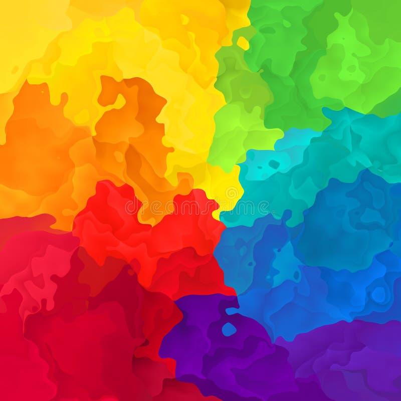Extrahieren Sie befleckte Spektrum-Regenbogenfarben des Musterhintergrundes volle - moderne Malereikunst - Aquarelleffekt vektor abbildung