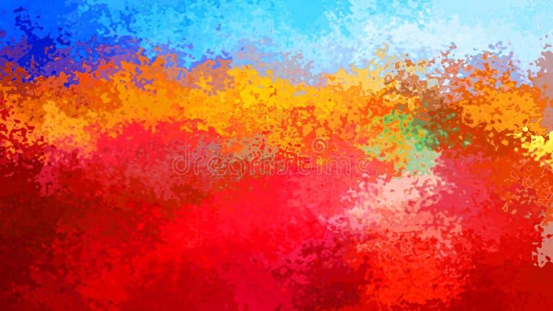 Extrahieren Sie befleckten blauen Himmel des Musterrechteckhintergrundes über brennender roter orange Farbe - moderne Malereikuns vektor abbildung