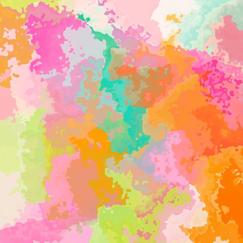 Extrahieren Sie befleckten Musterhintergrund im süßen Pastellfarbspektrum - moderne Malereikunst stock abbildung