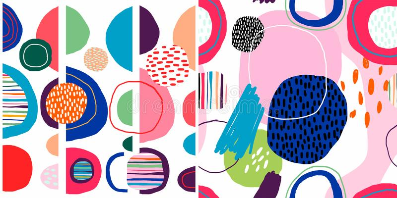 Extrahieren Sie die modischen nahtlosen Muster, die mit Handgezogenen bunten Formen eingestellt werden stock abbildung