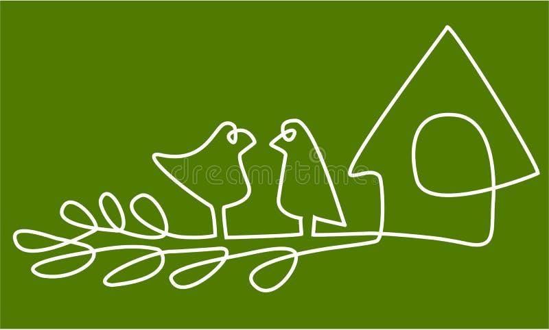 Extrahieren Sie ein Federzeichnung mit Vögeln im Nest stock abbildung