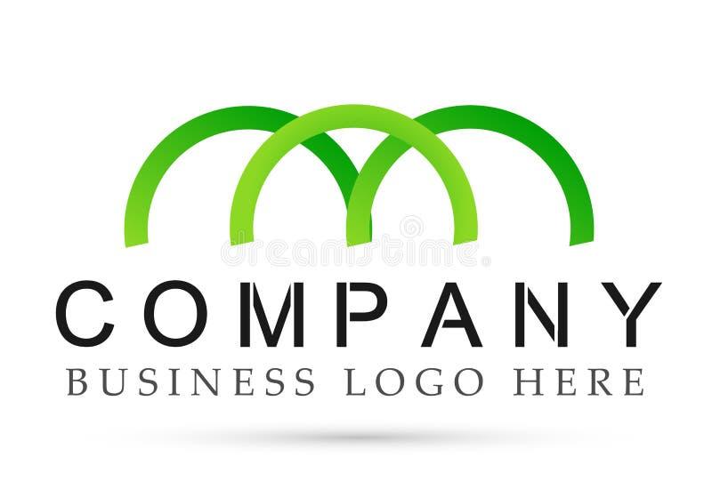 Extrahieren Sie halb Verbandslogosymbolikonen-Vektorentwürfe des Kreises geformte für Unternehmen auf weißem Hintergrund stock abbildung