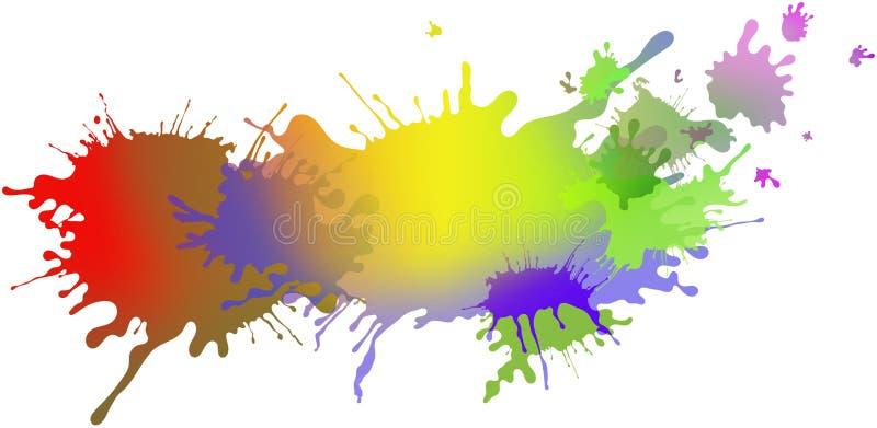 Extrahieren Sie lokalisierte bunte Farbe und plätschern Sie Regenbogenhintergrund stock abbildung