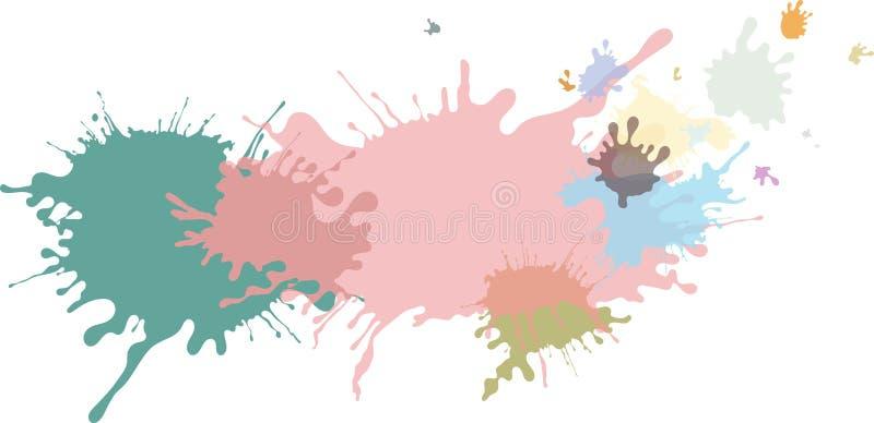 Extrahieren Sie lokalisierte bunte Pastellfarbe und plätschern Sie Hintergrund stock abbildung