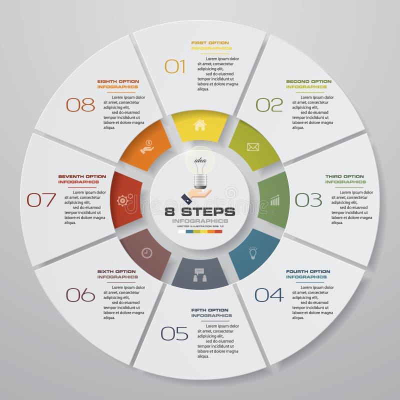 Extrahieren Sie 8 moderne Elemente infographics Kreisdiagramm der Schritte Auch im corel abgehobenen Betrag stock abbildung