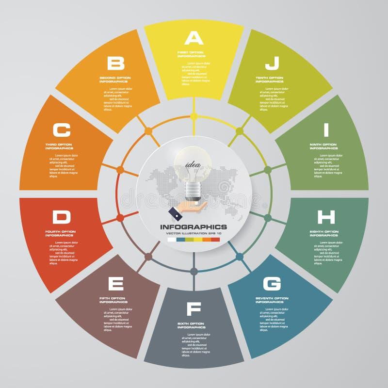 Extrahieren Sie 10 moderne Elemente infographics Kreisdiagramm der Schritte Auch im corel abgehobenen Betrag stock abbildung
