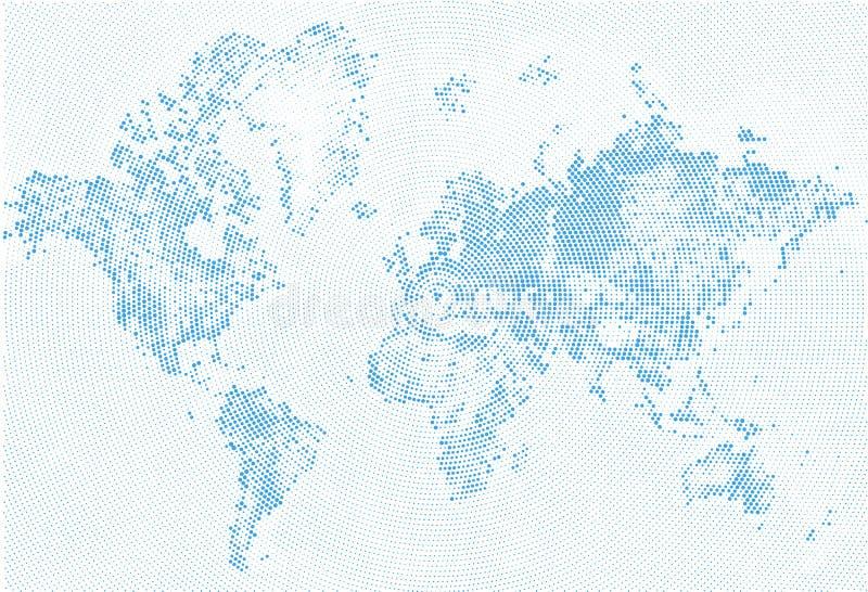 Extrahieren Sie punktierte Karten-blaue und weiße Halbtonschmutz Effekt-Illustration Weltkarteschattenbilder Kontinentale Formen  stock abbildung