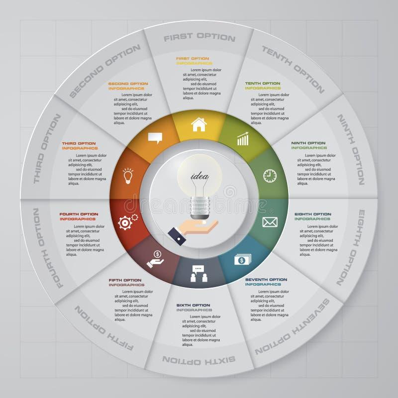 Extrahieren Sie 10 Schritte einkreisen/Rad infographis Elemente Auch im corel abgehobenen Betrag vektor abbildung