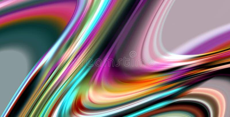 Extrahieren Sie unscharfe glatte Linien des Regenbogens, klare Wellenlinien, kontrastieren Sie abstrakten Hintergrund vektor abbildung