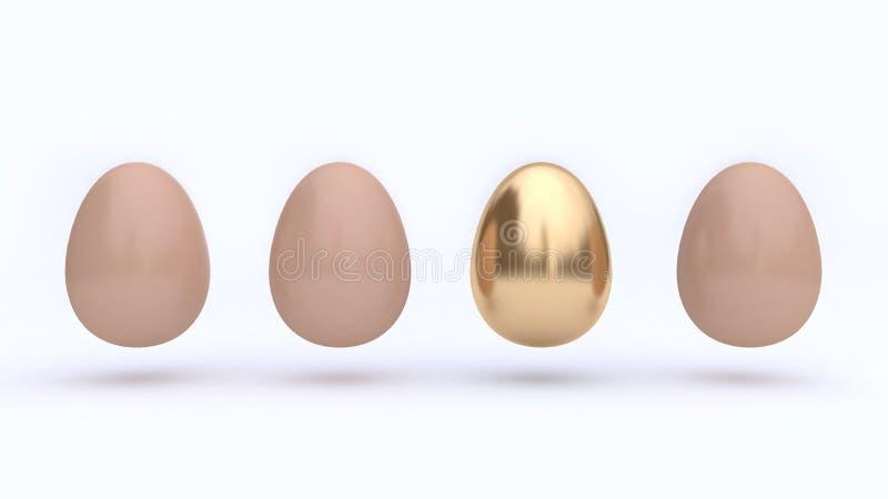 Extrahieren Sie vier Eier und einen Goldweißen Hintergrund 3d zu übertragen stock abbildung